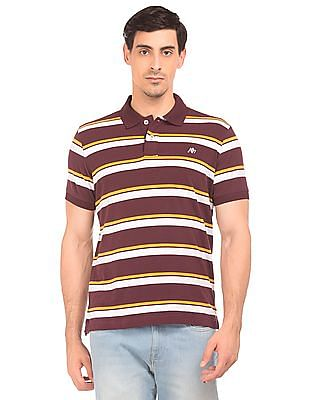 Aeropostale Striped Jersey Polo Shirt