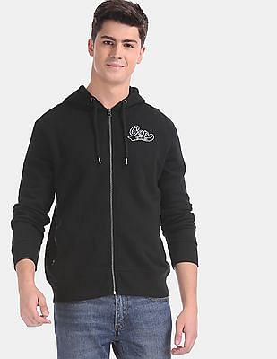 GAP Black Appliqued Hooded Sweatshirt
