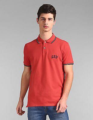 GAP Men Red Solid Pique Polo Shirt