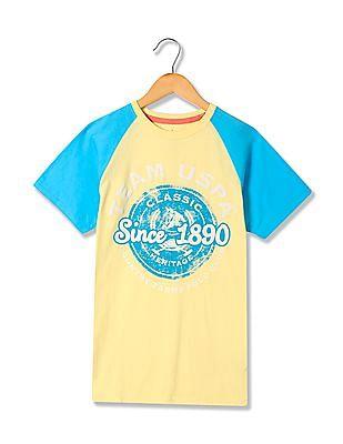 U.S. Polo Assn. Kids Boys Short Raglan Sleeve Printed T-Shirt