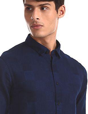 Flying Machine Blue Slim Fit Woven Check Shirt