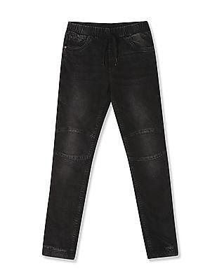 FM Boys Black Boys Stone Wash Jogger Jeans