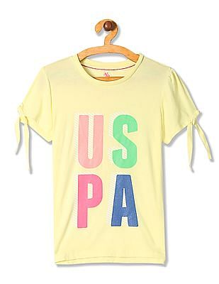 U.S. Polo Assn. Kids Girls Brand Print Tie Up Top