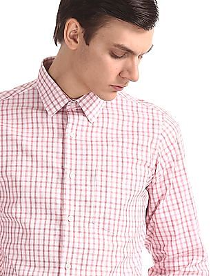 Excalibur Red French Placket Check Shirt