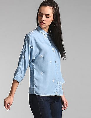 GAP Blue Embroidered Chambray Shirt