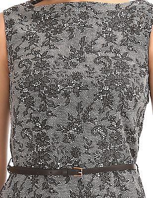 Elle Studio Lace Print Belted Dress
