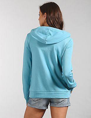 GAP Women Green Logo Applique Hooded Sweatshirt