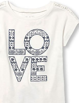 The Children's Place Girls White Short Sleeve Lace Shoulder Embellished Graphic Top