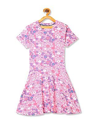 U.S. Polo Assn. Kids Pink Girls Printed Fit And Flare Dress