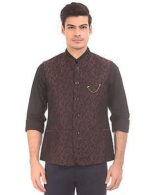 Arrow Two Tone Jacquard Nehru Jacket