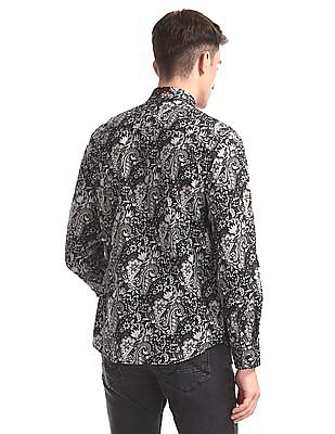 Ed Hardy Black Button Down Collar Printed Shirt