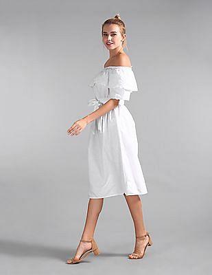GAP Women White Off-Shoulder Ruffle Eyelet Midi Dress in Linen-Cotton