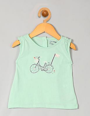 GAP Baby Green Embellished Graphic Tee