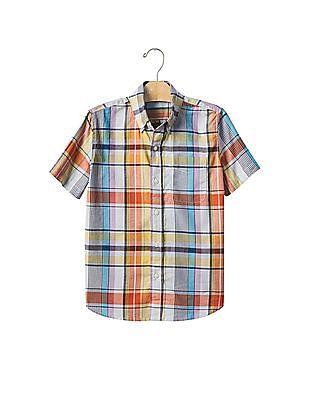 GAP Boys Plaid Short Sleeve Shirt