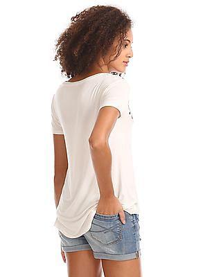 Aeropostale Embroidered V-Neck T-Shirt