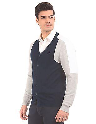 Arrow Sports Colour Blocked Cotton Cardigan