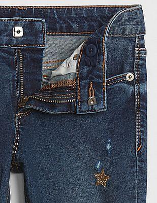 GAP Girls Super Skinny Jeans in Glitter Star Print