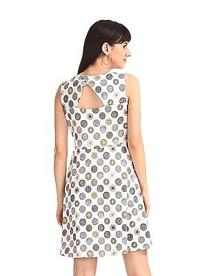 SUGR White Cut Out Back Printed Skater Dress
