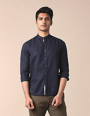 True Blue Mandarin Collar Cotton Linen Shirt