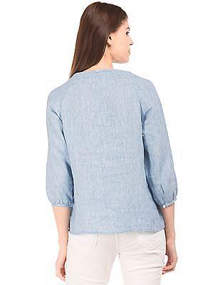 U.S. Polo Assn. Women Embroidered Cotton Linen Top