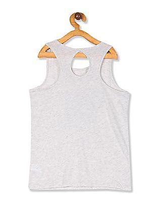 The Children's Place Girls Grey Matchables Sleeveless Cut Out Back Graphic Tank Top