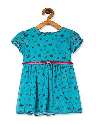 Donuts Green Girls Floral Print Belted Dress