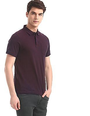 Flying Machine Red Concealed Placket Solid Polo Shirt