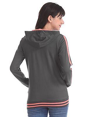 Flying Machine Women Grey Hooded Tipped Sweatshirt