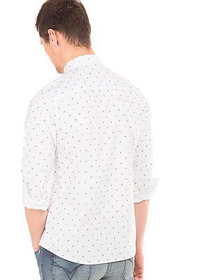 Flying Machine Fish Bone Print Slim Fit Shirt