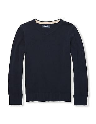 The Children's Place Boys Solid V-Neck Sweater
