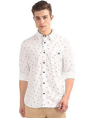 Aeropostale Boat Print Long Sleeve Shirt