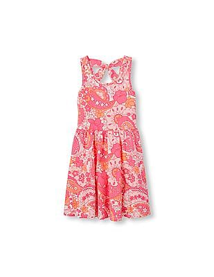 The Children's Place Girls Sleeveless Floral Paisley Print Bow Back Dress