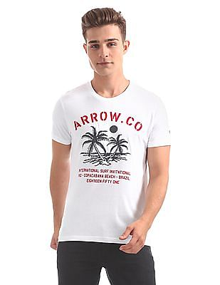 Arrow Sports Regular Fit Embroidered T-Shirt