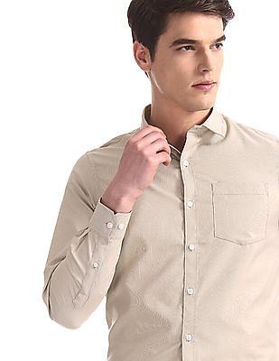 Excalibur Beige Regular Fit Solid Shirt