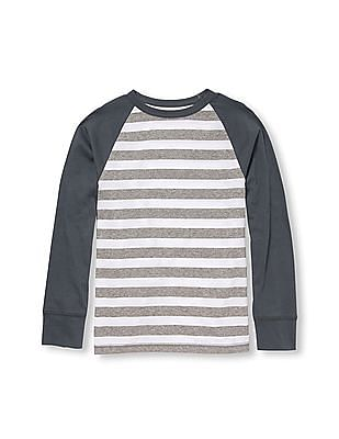 The Children's Place Boys Grey Active Long Raglan Sleeve Striped Top
