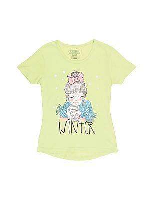 Cherokee Girls Graphic Print High-Low Hem T-Shirt