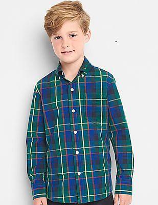 GAP Boys Green Plaid Poplin Button-Down Shirt