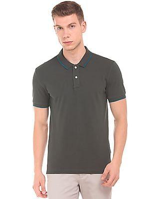 Arrow Sports Contrast Stripe Pique Polo Shirt