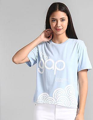 GAP Blue Boxy Brand Print T-Shirt