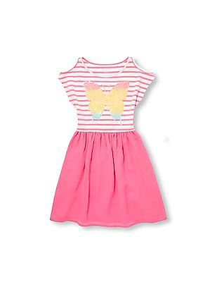 The Children's Place Girls Short Cold Shoulder Sleeve Sequin Butterfly Striped Knit-to-Woven Dress