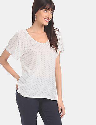 GAP Women White Raglan Sleeve Printed T-Shirt