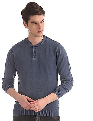 Flying Machine Blue Henley  Neck Textured Front Sweater