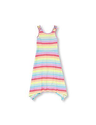 The Children's Place Girls Sleeveless Striped Hanky Hem Knit Maxi Dress