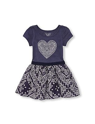 The Children's Place Toddler Girl Short Sleeve Bandana Print Knit-To-Woven Dress