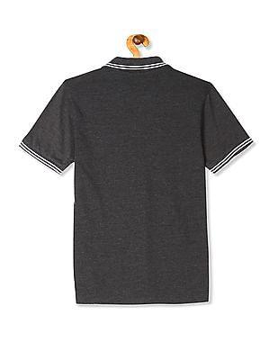 Flying Machine Grey Heathered Pique Polo Shirt
