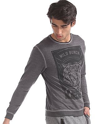 Flying Machine Grey Crew Neck Graphic Print Sweatshirt