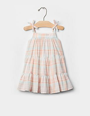 GAP Baby Pink Shimmer Stripe Bow Dress