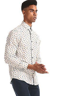 U.S. Polo Assn. Beige Floral Print Linen Cotton Shirt