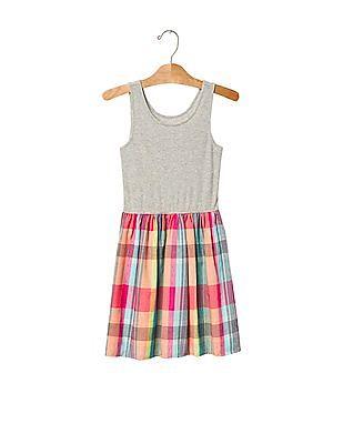 GAP Girls Grey Plaid Mix Fabric Tank Dress
