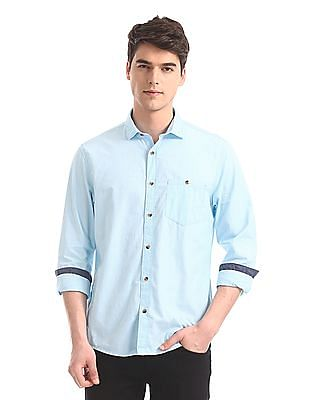 Ruggers Blue Semi Cutaway Collar Solid Shirt
